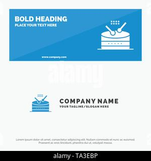 Drum, Instrument, Music, Parade SOlid Icon Website Banner and Business Logo Template - Stock Image
