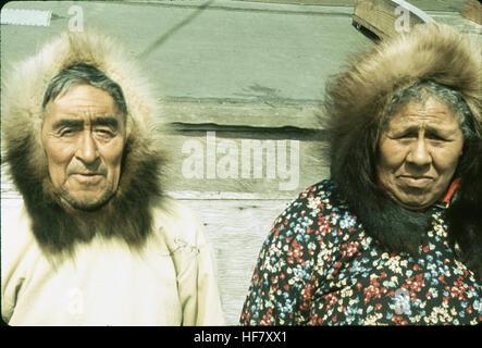 Eskimo couple; Point Barrow, Alaska. - Stock Image