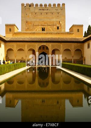 The palace gardens of Granada - Stock Image