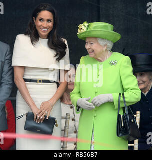 Her Majesty Queen Elizabeth II and the Duchess of Sussex (Meghan Markle) open the Mersey Gateway Bridge, at the Catalyst Science Discovery Centre in Widnes Cheshire on June 14th 2018 ahead of other various engagements in the area. - Stock Image