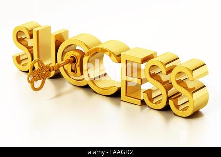 Golden key unlocking success word. 3D illustration. - Stock Image