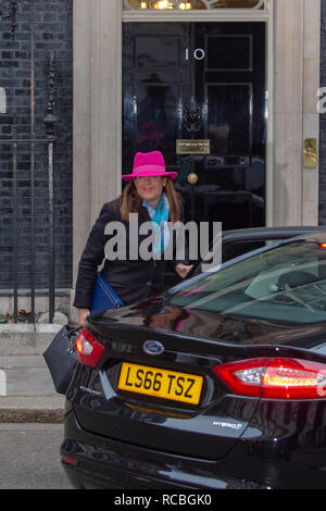 London, United Kingdom. 15 January 2019. Caroline Nokes, Minister of State for Immigration arrives at 10 Downing Street for the weekly cabinet meeting ahead of the critical Brexit vote. Credit: Peter Manning/Alamy Live News - Stock Image