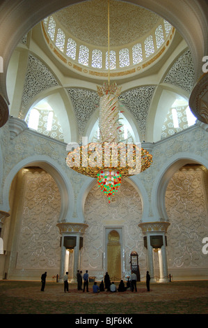 Interior of Sheikh Zayed Bin Sultan Al Nahyan Mosque, Abu Dhabi - Stock Image