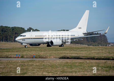 United States Navy C40 Clipper arriving at the RAF Lossiemouth 2017 Joint Warrior Exercise in Morayshire Scotland. - Stock Image