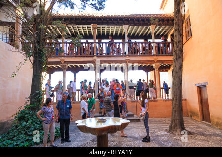 Tourists in the Alhambra Palace in Granada Spain - Stock Image