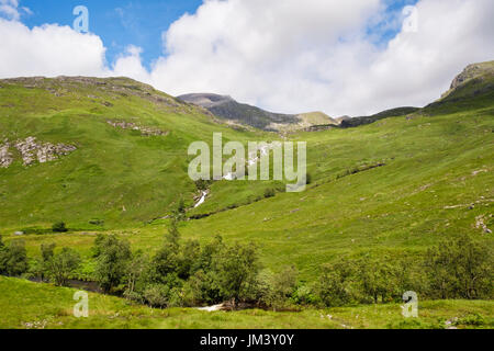 View to Ben Nevis across Water of Nevis river in Glen Nevis valley. Fort William, Inverness-shire, Highland, Scotland, UK, Britain - Stock Image