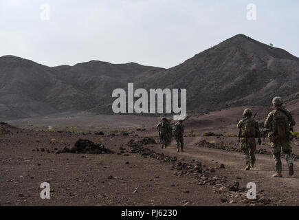 U.S. Army soldiers, assigned to the 10th Mountain Division, patrol during a platoon Situational Training Exercise on At a range in Arta, Djibouti, Aug. 25, 2018. The STX is a scenario driven, mission-oriented exercise, designed to form a realistic scenario of a military operation. (U.S. Air Force photo by Senior Airman Haley D. Phillips) ) - Stock Image