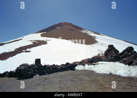 The Snow Clad Peak of the Volcanic Mountain Mt Teide, Tenerife National Park, Canary Islands - Stock Image