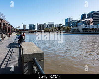 River bank boardwalk Southbank, Melbourne, Victoria, Australia - Stock Image