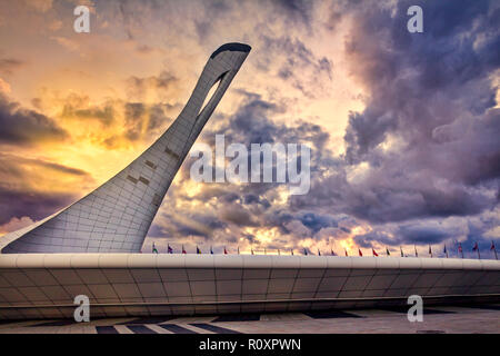 Sochi, Russia - January 25, 2014: Bowl of the Olympic flame and singing Fountain in the Olympic park. - Stock Image