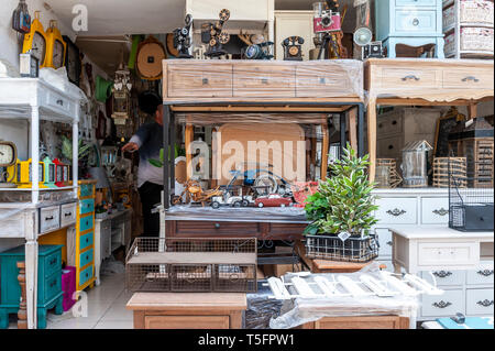 Israel, Tel Aviv-Yafo - 24 April 2019: Furniture sold in Shuk hapishpeshim flea market - Stock Image