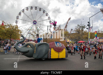 Sydney, Australia. 23rd Apr, 2019. A parade is seen during the Sydney Royal Easter Show in Sydney, Australia, April 23, 2019. The Sydney Royal Easter Show is an annual show held in Sydney over two weeks around Easter. It is organized by the Royal Agricultural Society of New South Wales and was first held in 1823. The show comprises an agricultural show, an amusement park and a fair. Credit: Zhu Hongye/Xinhua/Alamy Live News - Stock Image
