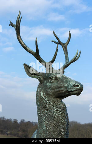 Deer stag bronze statue in the grounds of Chateau de Chantilly, France - Stock Image