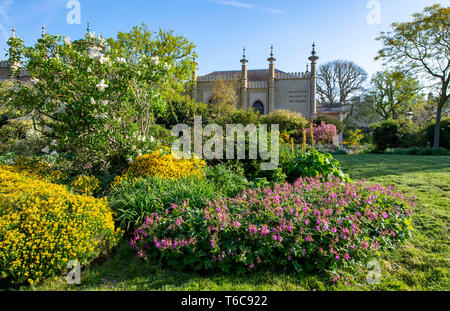 Royal Pavilion and Gardens Brighton UK - Stock Image