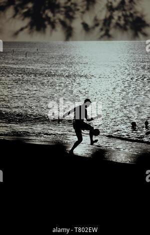 Beach footballer, Grenada, Caribbean - Stock Image
