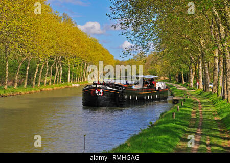 Traditional french barge leaving its mooring on a sunny spring day on the Canal Du Midi  with the trees in full bloom, South of France - Stock Image