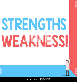 Handwriting text Strengths Weakness. Conceptual photo Opportunity and Threat Analysis Positive and Negative Front view young woman holding two hands r - Stock Image