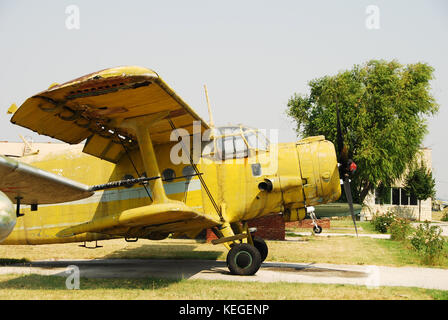 old biplane yellow color - Stock Image