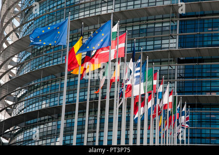 Flags of member nations flying at the European Parliament, Strasbourg, Alsace, France - Stock Image