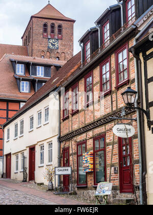 Downtown city Waren, lake Mueritz, Mecklenburg-Vorpommern, Germany - Stock Image