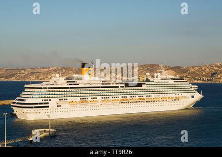 Coast Pacifica cruise ship leaving the commercial port of Marseilles, France, Europe - Stock Image