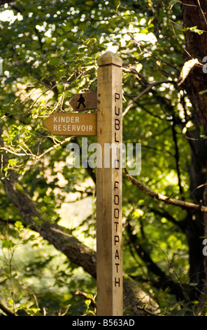 Wooden signpost in the Peak District National Park Derbyshire UK England GB Great Britain - Stock Image