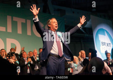 Nigel Farage, Leader of the Brexit Party, receiving adulation from the audience, at the end of the Rally at Olympia, London - Stock Image