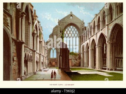 Vintage print of Holyrood Chapel Edinburgh Scotland circa 1880 - Stock Image