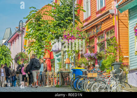 Collourful Shops and Houses, Stavanger, Norway - Stock Image