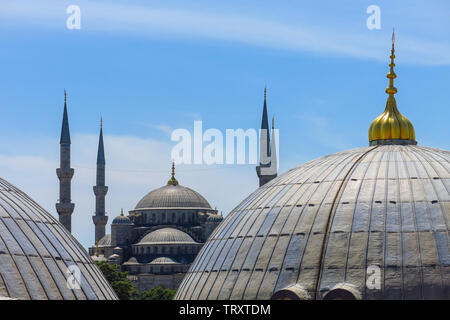 Domes of Saint Sophie Cathedral and Blue Mosque, from Saint Sophie, Istanbul, Turkey. - Stock Image