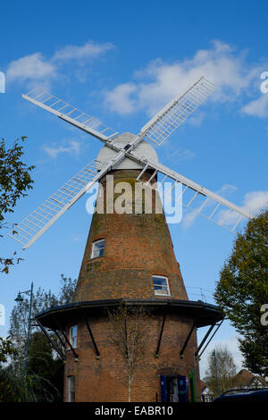 grade II listed Rayleigh Windmill Kentish cap winded six bladed fantail - Stock Image