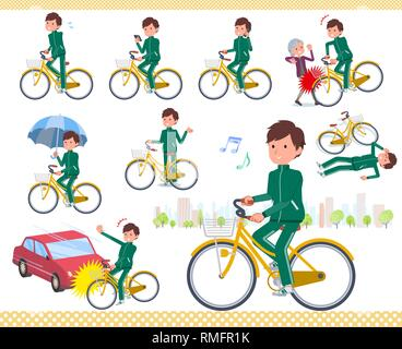 A set of school boy in sportswear riding a city cycle.There are actions on manners and troubles.It's vector art so it's easy to edit. - Stock Image