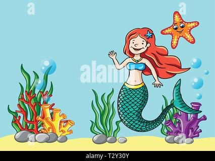 Vector illustration of young mermaid in the sea. - Stock Image