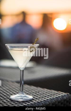 USA, New York City, Midtown Manhattan, martini at sunset - Stock Image