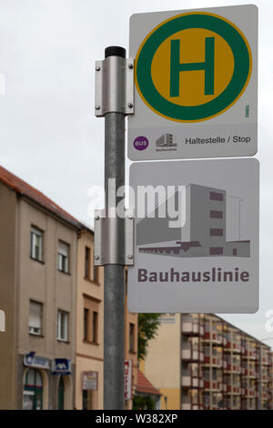 Sign for a bus stop in Dessau, Saxony Anhalt, Germany. The stop is on the Bauhaus Line. - Stock Image