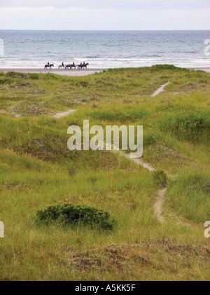 People riding horses along the beach at Ocean Shores Washington State USA 2003 - Stock Image