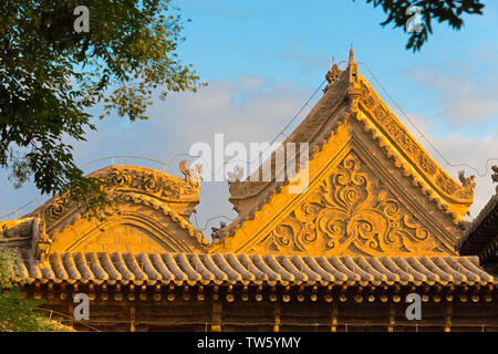 Architectural details of Dafo (Great Buddha) Temple, Zhangye, Gansu Province, China - Stock Image