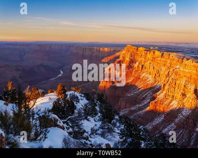 Desert View at Sunset. Grand Canyon National Park, Arizona. Palisades of the Desert at right. - Stock Image