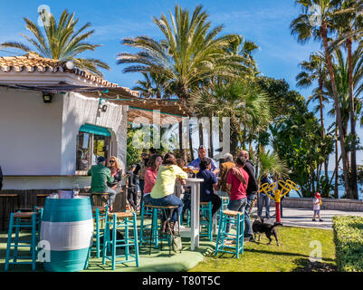 Marbella alfresco tapas drinks beach bar in verdant oasis surrounded by palm trees with Mediterranean sea behind Costa del Sol Marbella Malaga Spain - Stock Image