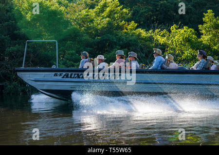 Tourists exploring the Amazon on a skiff - Stock Image