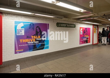 Posters for the NYC STRIVE program in the Union Square subway station in lower Manhattan, New York City. - Stock Image
