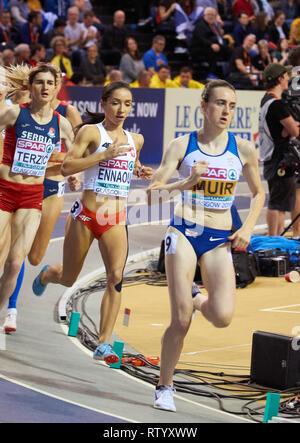 Glasgow, UK: 3rd March 2019: Sofia Ennaoui wins silver in 1500m race on European Athletics Indoor Championships 2019.Credit: Pawel Pietraszewski/ Alamy News - Stock Image