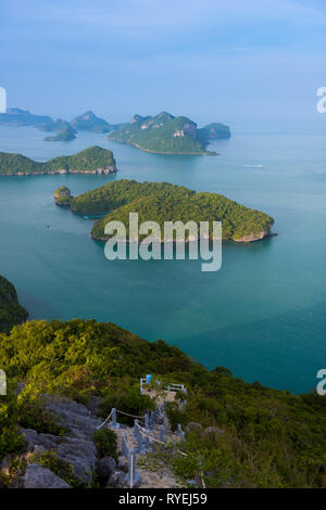 On Top of the rocky hill trail in Ko Wua Talap, Ang Thong park, Thailand - Stock Image