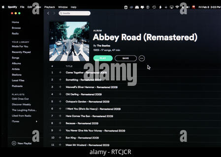 The Beatles album Abbey Road Spotify webpage - Stock Image