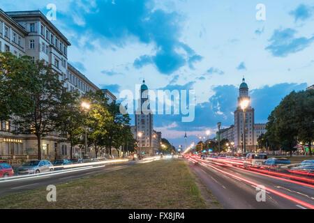 Frankfurter Tor, Friedrichshain, Twilight, Berlin, Germany - Stock Image