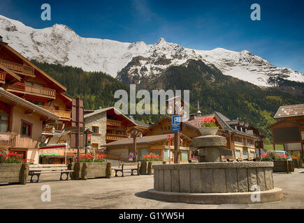 The centre of the village in Les Contamines, France - Stock Image
