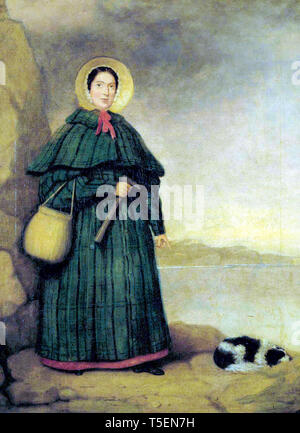 Mary Anning (1799-1847), portrait painting with her dog Tray and the Golden Cap outcrop in the background, before 1842 - Stock Image
