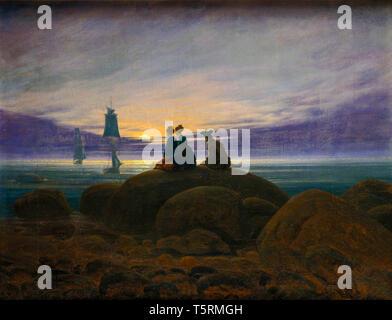 Caspar David Friedrich, Moonrise over the Sea, painting, 1822 - Stock Image
