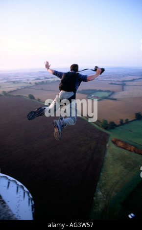 PICTURE CREDIT DOUG BLANE BASE jumper Simon Hepple jumping off a cold war tower Great Britain - Stock Image
