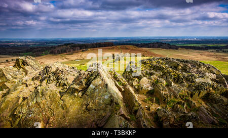 Looking out over the Precambrian rocks of Charnwood Forest. - Stock Image